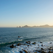 Cabo San Lucas Bay at sunset with The Arch in the background. BCS.