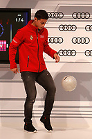 James participates and receives new Audi during the presentation of Real Madrid's new cars made by Audi in Madrid. December 01, 2014. (ALTERPHOTOS/Caro Marin)