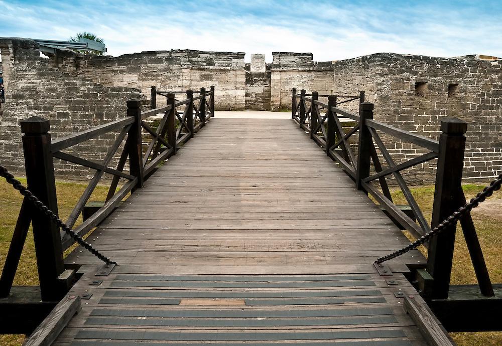 View of entrance bridge of San Marcos Castle, National Monument, in Saint Augustine, Florida.
