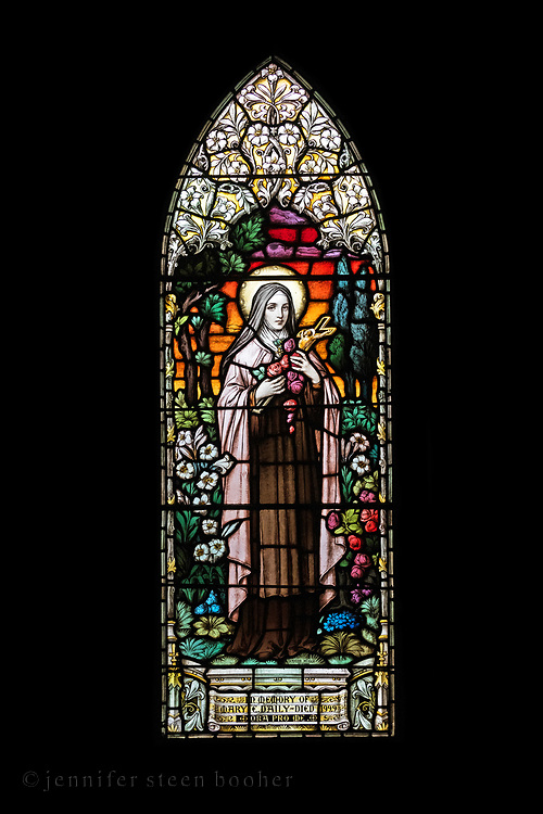 """Window 11 on plan. 31"""" w x approx.84""""h<br /> <br /> St. Therese is also known as The Little Flower.<br /> <br /> Holy Redeemer Catholic Church, Bar Harbor, Maine."""