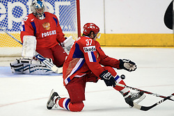 Denis Grebeshkov (37) of Russia at  ice-hockey game Canada vs Russia at finals of IIHF WC 2008 in Quebec City,  on May 18, 2008, in Colisee Pepsi, Quebec City, Quebec, Canada. Win of Russia 5:4 and Russians are now World Champions 2008. (Photo by Vid Ponikvar / Sportal Images)