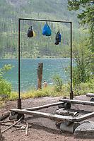 Food bags hanging for bear safety at food prep area of Kintla Lake Campsite Glacier National Park Montana