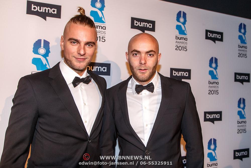 NLD/Hilversum/20150217 - Inloop Buma Awards 2015, Showtek, Sjoerd en Wouter Janssen