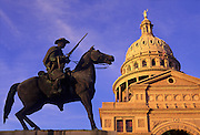 Image of the State Capitol and Texas Rangers statue in Austin, Texas, American Southwest by Randy Wells