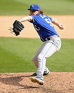 CHICAGO - SEPTEMBER 12:  Scott Barlow #58 of the Kansas City Royals pitches against the Chicago White Sox on September 12, 2019 at Guaranteed Rate Field in Chicago, Illinois.  (Photo by Ron Vesely)  Subject:   Scott Barlow