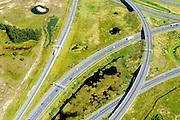 Nederland, Noord-Brabant, Eindhoven, 23-08-2016; Randweg Eindhoven, Knooppunt Batadorp. Verkeersknooppunt van de autosnelweg A2, autoweg A50 en autosnelweg A58. Half sterknooppunt.<br /> Batadorp junction, near Eindhoven.<br /> <br /> luchtfoto (toeslag op standard tarieven);<br /> aerial photo (additional fee required);<br /> copyright foto/photo Siebe Swart