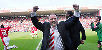 Photo: Leigh Quinnell.<br /> Bristol City v Rotherham United. Coca Cola League 1. 05/05/2007. Bristol City manager Gary Johnson celebrates winning promotion at the end of the game.