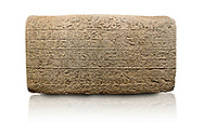 Hittite sculpted Orthostats panel from the  Long Wall.  Limestone, Kargarmis, Gaziantep, 900 - 700 BC,  Hieroglyph. Anatolian Civilisations Museum, Ankara, Turkey.<br /> <br /> In the epigraph with hieroglyph, he narrates that the gods were provoked against him, the account of the cities conquered and the spoils of war; that he allocated a share for the gods, and that he instigated the mighty king Tarhunza and the other gods. In the other lines, he demands that people should present offerings to statues but should evil-intentioned people be among them, such person individuals be punished by the gods. <br /> <br /> On a White Background. .<br />  <br /> If you prefer to buy from our ALAMY STOCK LIBRARY page at https://www.alamy.com/portfolio/paul-williams-funkystock/hittite-art-antiquities.html  - Type  Karkamıs in LOWER SEARCH WITHIN GALLERY box. Refine search by adding background colour, place, museum etc.<br /> <br /> Visit our HITTITE PHOTO COLLECTIONS for more photos to download or buy as wall art prints https://funkystock.photoshelter.com/gallery-collection/The-Hittites-Art-Artefacts-Antiquities-Historic-Sites-Pictures-Images-of/C0000NUBSMhSc3Oo