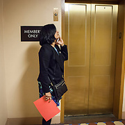 """Representative Pramila Jayapal (D-WA, 7), waits for the elevator to the United States Capitol to support the introduction of H.R 724 by Rep. Zoe Lofgren (D-CA) to """"revoke President Trump's January 27, 2017 executive order...[and] block funding for any enforcement of the order,"""" on Tuesday, January 31, 2017. For The Stranger (Seattle, WA)."""
