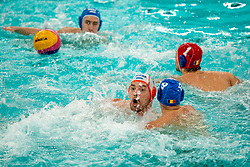 Jorn Winkelhorst of the Netherlands in action against Bogdan Remes of Romania during the Olympic qualifying tournament. The Dutch water polo players are on the hunt for a starting ticket for the Olympic Games on February 16, 2021 in Rotterdam