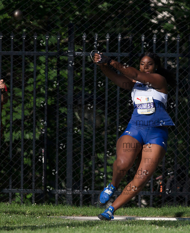 Toronto, ON -- 10 August 2018: Tynelle Gumbs (British Virgin Islands) in hammer throw at the 2018 North America, Central America, and Caribbean Athletics Association (NACAC) Track and Field Championships held at Varsity Stadium, Toronto, Canada. (Photo by Sean Burges / Mundo Sport Images).