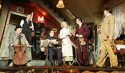 The Ladykillers<br /> by Graham Linehan<br /> directed by Sean Foley<br /> at The Vaudeville Theatre, London, Great Britain <br /> press photocall <br /> 8th July 2013<br /> <br /> Angela Thorne as Mrs Wilberforce<br /> <br /> John Gordon Sinclair as Professor Marcus<br /> <br /> Chris McCalphy as One Round<br /> <br /> Con O'Neill as Louis<br /> <br /> Ralf Little as Harry <br /> <br /> Simon Day as Major Courtney <br /> <br /> Photograph by Elliott Franks