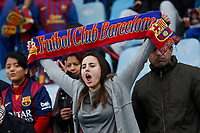 Barcelona´s supporter holding a scarf during 2014-15 La Liga match at Coliseum Alfonso Perez stadium in Madrid, Spain. December 13, 2014. (ALTERPHOTOS/Victor Blanco)