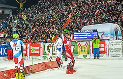 """29.01.2019, Planai, Schladming, AUT, FIS Weltcup Ski Alpin, Slalom, Herren, Siegerehrung, im Bild Daniel Yule (SUI, dritter Platz) Marcel Hirscher (AUT, Sieger) Alexis Pinturault (FRA, zweiter Platz) // Third Place Daniel Yule of Switzerland Winner Marcel Hirscher of Austria Second Place Alexis Pinturault of France during the winner Ceremony for the men's Slalom """"the Nightrace"""" of FIS ski alpine world cup at the Planai in Schladming, Austria on 2019/01/29. EXPA Pictures © 2019, PhotoCredit: EXPA/ Erich Spiess"""