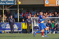 AFC Wimbledon striker James Hanson (18) having shirt pulled during the EFL Sky Bet League 1 match between AFC Wimbledon and Charlton Athletic at the Cherry Red Records Stadium, Kingston, England on 23 February 2019.