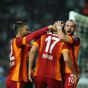 Galatasaray's Burak Yilmaz celebrate his goal with team mate during their Turkish Super League soccer derby match Torku Konyaspor between Galatasaray at the Konya Buyuksehir Belediyesi Torku Arena at Selcuklu in Konya Turkey on Saturday, 13 December 2014. Photo by Kurtulus YILMAZ/TURKPIX