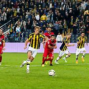 Fenerbahce's Dirk Kuyt scores during their Turkish superleague soccer match Fenerbahce between Genclerbirligi at the Sukru Saracaoglu stadium in Istanbul Turkey on Saturday 25 October 2014. Photo by Aykut AKICI/TURKPIX