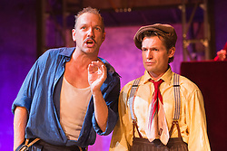 © Licensed to London News Pictures. 11/09/2015. London, UK. L-R: Bob Cryer and Ross Forder. Photocall for The Sting, play based on the 1973 caper film of the same name, at Wilton's Music Hall. Performances run in the newly refurbished venue from 9 September to 17 October 2015. The Sting is directed by Peter Joucla with Bob Cryer as Gondorff, Ross Forder as Hooker and Hannah Brackstone-Brown as Billie. Photo credit : Bettina Strenske/LNP