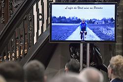April 24, 2018 - Heist-Op-Den-Berg, FRANCE - An image of cyclist Michael Goolaerts pictured at his funeral ceremony, Tuesday 24 April 2018 in Hallaar, Heist-Op-Den-Berg. Michael Goolaerts died after a crash in the Paris-Roubaix race on Sunday 8 April 2018, he was 23 years old...BELGA PHOTO DIRK WAEM (Credit Image: © Dirk Waem/Belga via ZUMA Press)