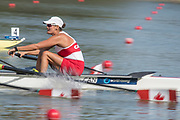 Plovdiv, Bulgaria, Monday, 10th September 2018. FISA, World Rowing Championships, CAN W4-, Bow, Jessie LOUTIT,  start Womens' Four, © Peter SPURRIER,