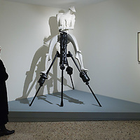 """VENICE, ITALY - JANUARY 28:  A visitor at the Peggy Guggenheim Collection admires the reconstruction by Ken Cook and Ann Cristopher after the dismantled original of the installation  """"Rock Drill""""  by Jacob Epstein at the press launch of the Vorticist exhibition on January 28, 2011 in Venice, Italy. The Vorticists: Rebel Artists in London and New York, 1914-1918, is the first exhibition devoted to Vorticism to be presented in Italy will be open at the Peggy Guggenheim Collection from  January 29 through May 15, 2011."""