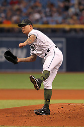 May 26, 2018 - St. Petersburg, FL, U.S. - ST. PETERSBURG, FL - MAY 26: Anthony Banda (53) of the Rays delivers a pitch to the plate during the MLB regular season game between the Baltimore Orioles and the Tampa Bay Rays on May 26, 2018, at Tropicana Field in St. Petersburg, FL. (Photo by Cliff Welch/Icon Sportswire) (Credit Image: © Cliff Welch/Icon SMI via ZUMA Press)