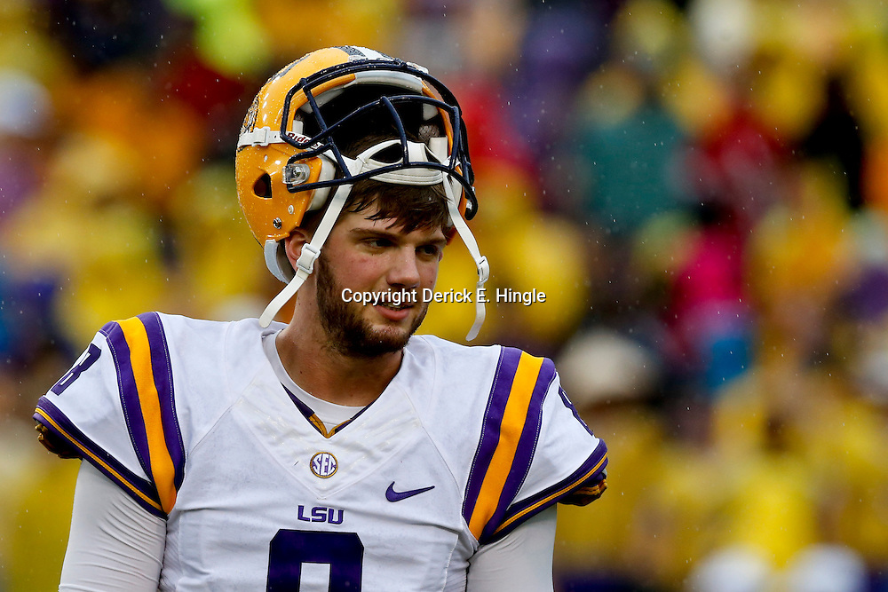 Sep 21, 2013; Baton Rouge, LA, USA; LSU Tigers quarterback Zach Mettenberger (8) before a game against the Auburn Tigers at Tiger Stadium. Mandatory Credit: Derick E. Hingle-USA TODAY Sports