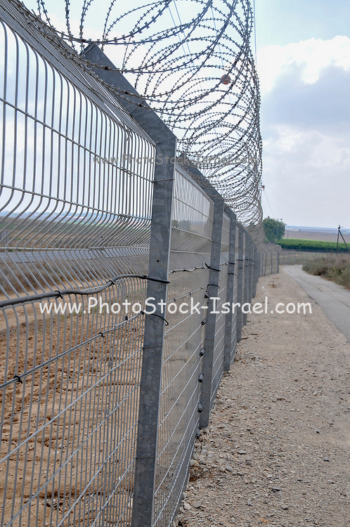 A security fence around a kibbutz on the Gaza border in southern Israel