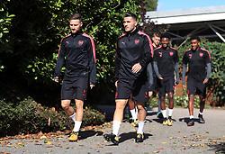 Arsenal's Sead Kolasinac (right) and Shkodran Mustafi (left) during the training session at London Colney.