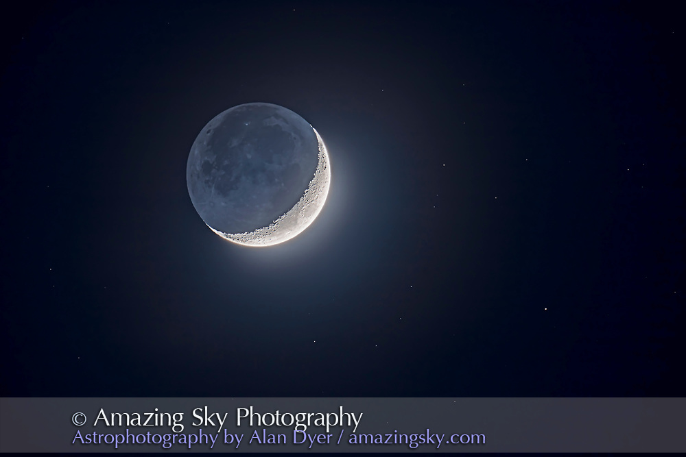 """Earthshine lights the """"dark side of the Moon"""" on the waxing crescent Moon of February 27, 2020. Stars surround the Moon in the deep twilight sky. The brightest star is 4.4-magnitude Nu Piscium. <br /><br />This is a blend of five exposures from short to long to preserve detail in the bright sunlit crescent while bringing out the faint blue Earthshine from light reflected off the Earth and lighting the nightside of the Moon. Exposures blended with luminosity masks. <br /><br />HDR and Mean Stacking routines produced edge artifacts, a very noisy sky, and no control over the mask edges and softness to better blend the exposures. <br /><br />All taken with the Canon 6D MkII at ISO 100 through the Astro-Physics 130mm apo refractor at f/6."""