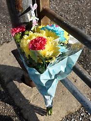 "© Licensed to London News Pictures. 27/03/2016. London, UK. Flowers are left at the entrance to Harlow Town Park after a girl died when a bouncy castle she was playing in ""blew away by some distance"". Two people are being held on suspicion of manslaughter by gross negligence following the incident which took place in Harlow Town Park in Essex. Photo credit : Hannah McKay/LNP"