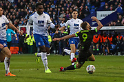 Forest Green Rovers Christian Doidge(9) is brought down by Tranmere Rovers Emmanuel Monthe(6), no penalty during the EFL Sky Bet League 2 play off first leg match between Tranmere Rovers and Forest Green Rovers at Prenton Park, Birkenhead, England on 10 May 2019.