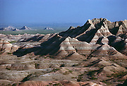 Crisp deliniations of sedimentary layers help define the bleak landscape of Badlands National Park in South Dakota.