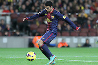 06.01.2013 Barcelona, Spain. La Liga day 18. Pedro in action during game between FC Barcelona against RCD Espanyol at Camp Nou