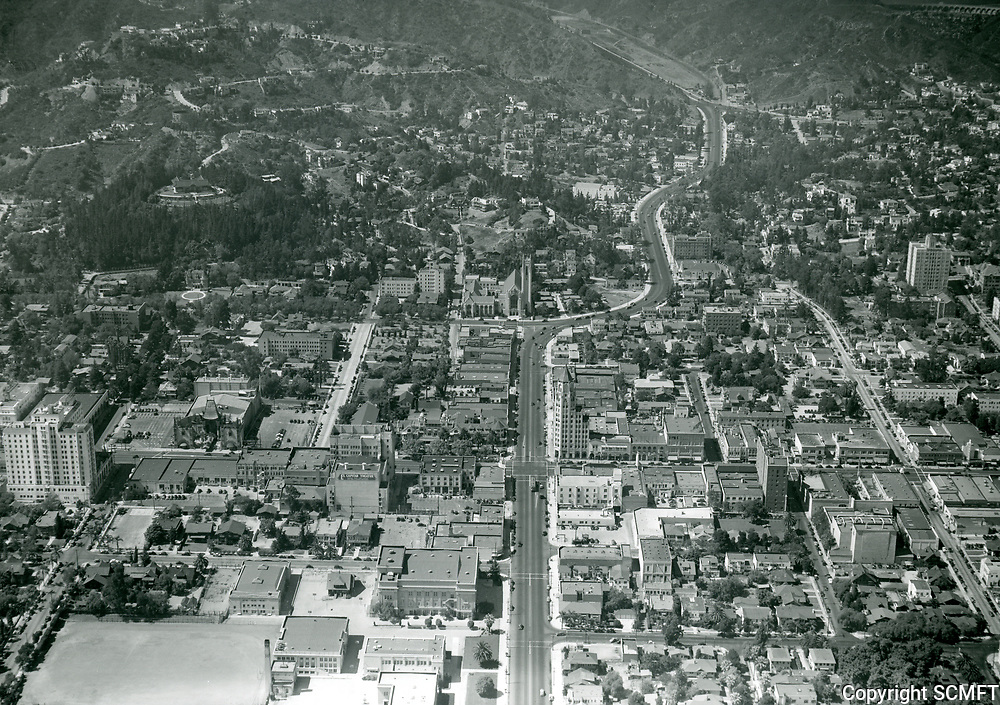 1938 Looking north up Highland Ave. near Hollywood Blvd.