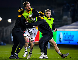 Brad Shields of Wasps takes contact during warm ups - Mandatory by-line: Andy Watts/JMP - 08/01/2021 - RUGBY - Recreation Ground - Bath, England - Bath Rugby v Wasps - Gallagher Premiership Rugby