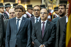 September 11, 2017 - Barcelona, Catalonia, Spain - President of the Catalan government CARLES PUIGDEMONT (2L) deposits a wreath at the foot of the Rafael Casanova monument on the 'Diada' (Catalan National Day) in Barcelona (Credit Image: © Matthias Oesterle via ZUMA Wire)