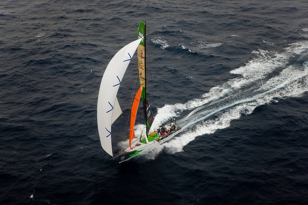11OCT08. Green Dragon leaves Alicante for the start of Leg 1 of the Volvo Ocean Race 2008-09. Next stop is Cape Town in 6500NM (ETA 3rd Nov 08)