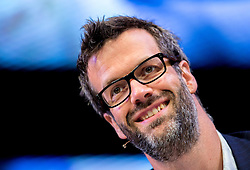 © Licensed to London News Pictures. 30/05/2015. Hay-On-Wye, UK. Comedian Marcus Brigstocke presents the Early Edition at the Hay Festival. Photo credit : Tracey Paddison/LNP