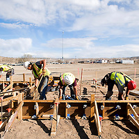 040513       Brian Leddy<br /> Workers with RMCI Inc construct a form at the Gallup Sports Complex Friday. The park is currently undergoing a major renovation.