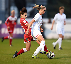 Angharad James of Bristol Academy Women unsuccessfully tackles Rosie White of Liverpool Ladies - Mandatory by-line: Paul Knight/JMP - Mobile: 07966 386802 - 04/10/2015 -  FOOTBALL - Stoke Gifford Stadium - Bristol, England -  Bristol Academy Women v Liverpool Ladies FC - FA Women's Super League