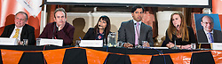 © Licensed to London News Pictures . 18/11/2014 . Kent , UK . Candidates L-R: Geoff Juby ( Liberal Democrats ) , Clive Gregory ( Green ) , Naushabah Khan ( Labour ) , host Faisal Islam , Kelly Tolhurst ( Conservative ) and a cardboard poster of UKIP candidate Mark Reckless who didn't attend , at a hustings in the Rochester and Strood by-election , held at the Corn Exchange in Rochester , this evening ( 18th November 2014 ) . Photo credit : Joel Goodman/LNP
