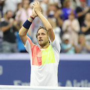 2016 U.S. Open - Day 7  Lucas Pouille of France after his win against Rafael Nadal of Spain in the Men's Singles round four match on Arthur Ashe Stadium on day six of the 2016 US Open Tennis Tournament at the USTA Billie Jean King National Tennis Center on September 4, 2016 in Flushing, Queens, New York City.  (Photo by Tim Clayton/Corbis via Getty Images)