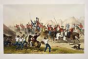 Fusiliers Bring the captured guns into camp Lithograph from the book Campaign in India 1857-58 Illustrating the military operations before Delhi ; 26 Hand coloured Lithographed plates. by George Francklin Atkinson Published by Day & Son Lithographers to the Queen in 1859