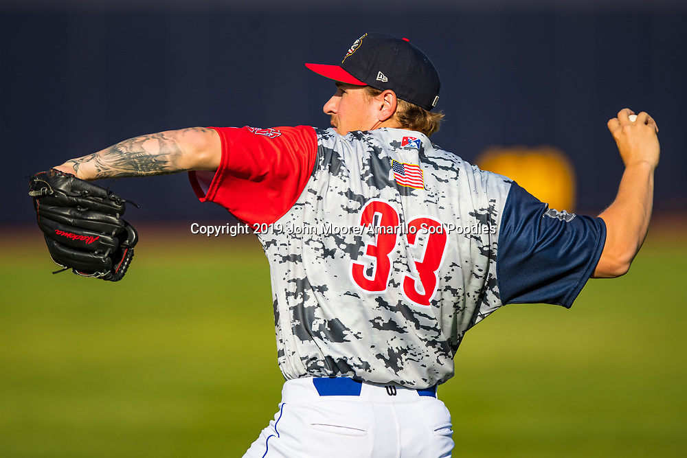 Amarillo Sod Poodles pitcher Lake Bachar (33) warms up before the game against the Corpus Christi Hooks on Thursday, July 4, 2019, at HODGETOWN in Amarillo, Texas. [Photo by John Moore/Amarillo Sod Poodles]