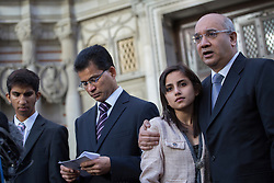 © licensed to London News Pictures. London, UK. 15/12/2012. The son Junal (left), husband Ben Barboza (second left) and The daughter Lisha (second right), of nurse Jacinta Saldanha talking to the media outside Westminster Cathedral in London after a memorial service with Keith Vaz (right) held for Jacinta Saldanha who committed suicide. Photo credit: Tolga Akmen/LNP