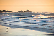 Silhouete and reflection of a surfer as he walks towards the sea and the surf in front of Corbiere lighthouse, under the golden light of sunset at St Ouen's Bay, Jersey, CI