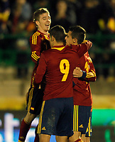 Spain's Iker Muniain, Rodrigo and Christian Tello celebrate goal during international sub21 match.March 21,2013. (ALTERPHOTOS/Acero)
