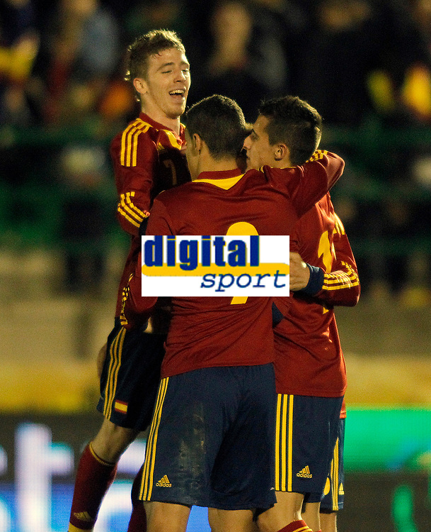 Spain's Iker Muniain, Rodrigo and Christian Tello celebrate goal during international sub21 match.March 21,2013. (ALTERPHOTOS/Acero)