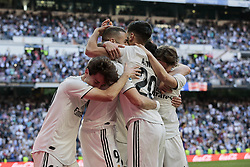 March 16, 2019 - Madrid, Madrid, Spain - Real Madrid's players seen celebrating a goal during La Liga match between Real Madrid and Real Club Celta de Vigo at Santiago Bernabeu Stadium in Madrid, Spain. (Credit Image: © Legan P. Mace/SOPA Images via ZUMA Wire)